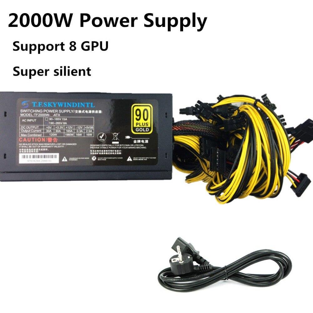 2000 W alimentation minière Asic bitcoin nouvelle puissance d'or 2000 W PLUS ETH alimentation ATX Machine minière prise en charge 8 cartes GPU PSU ATX