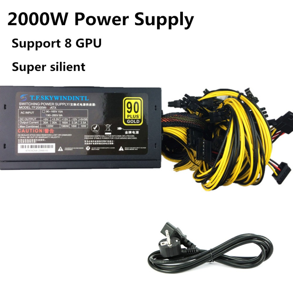 2000W Mining Power Supply Asic bitcoin new Gold power 2000W PLUS ETH power supply ATX Mining Machine support 8 GPU cards PSU ATX mining machine atx power supply 2200w 180 260v switching power supply 90