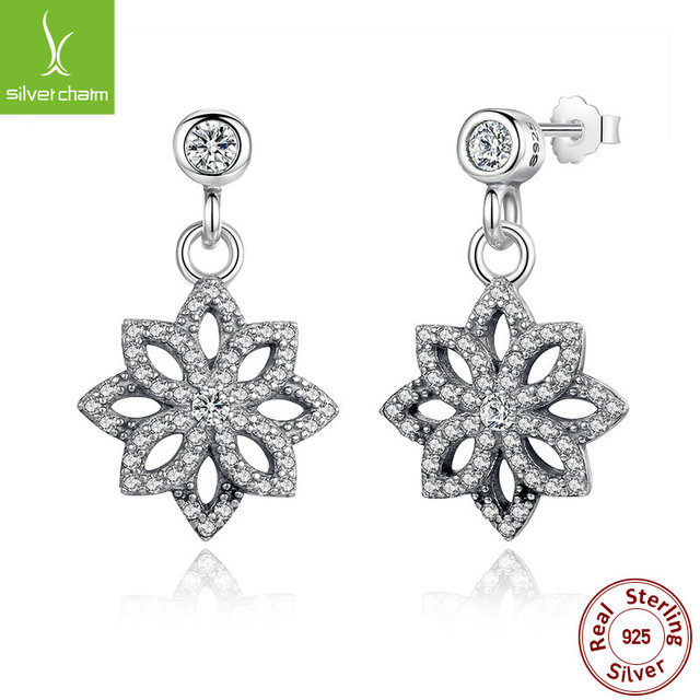 Hot Sale 925 Sterling Silver Snowflake Stud Earrings With Clear CZ For Women Original Authentic Jewelry Gift