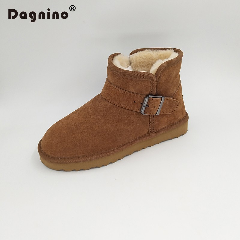 DAGNINO Brand Warm Plush Snow Boots Women High Quality Buckle Strap Winter Shoes Lady Genuine Leather Ug Style Short Ankle 35-45