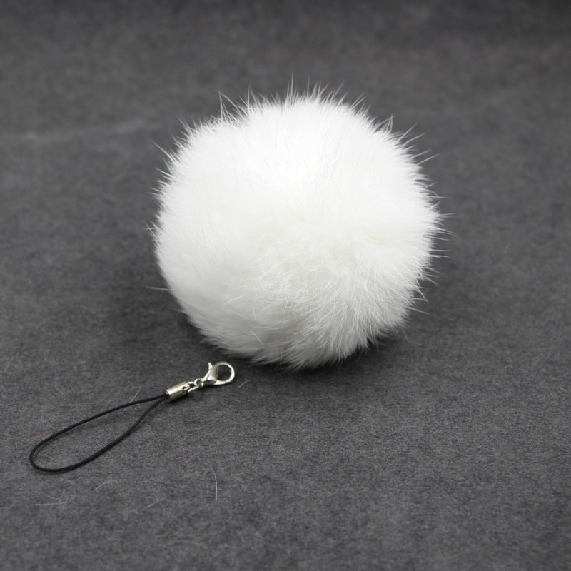 DULCII Lovely Coloful Phone Chain for Samsung Faux Fur Hair Ball Mobile Phone Straps Pendant Toy for Samrtphone - Purple