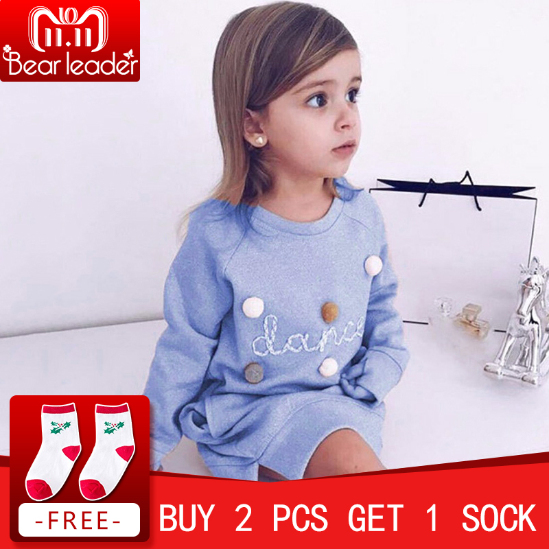 Bear Leader Autumn Winter Cartoon Letter Embroidery Sweatshirt Girl Fashion Long Hoodie Dress Pullover Moletom Feminina 2-6T