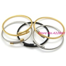 New Women Mens Stainless Steel Twisted Cable Wire Chain 3mm Thin Cuff Bracelets Male Open Cable Bangles Silver Or Gold Jewelry