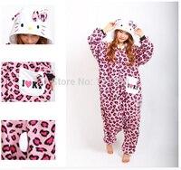 NEW Adult Women Pink Leopard Hello Kitty Cosplay Pajamas Animal Onesies Costume Pyjamas Jumpsuit Tracksuit Party