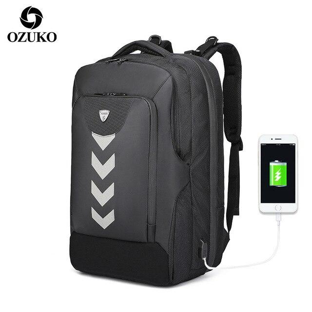 d53d124fe5d OZUKO High Capacity 17 Inch Laptop Backpack Men Multifunction Casual  Outdoor Waterproof Travel USB Backpack Male Mochila Hombre