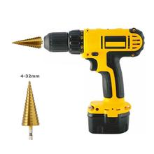 4-32 HSS Titanium Coated Step Drill Bit Hex Shank 1/4 Step Cone Drill for Metal Wood Hole Cut Power Tool Accessories
