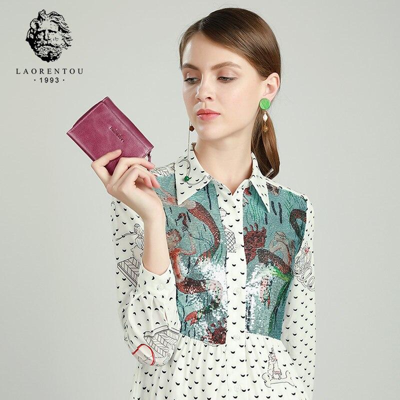 Image 2 - LAORENTOU Genuine Leather Ladies Money Bag Female Short Wallet Casual Card Holder Clutch Bag For Women Coin Purse Mothers GiftWallets   -