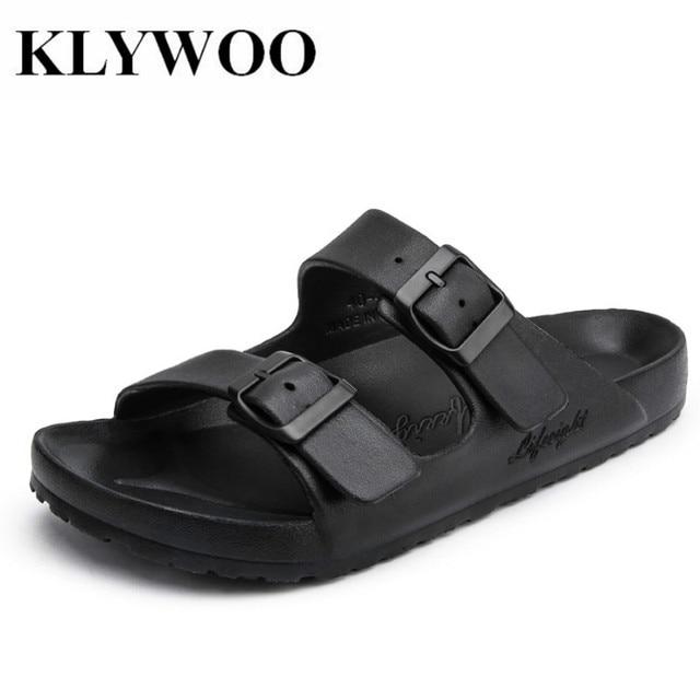 f767d16a3 KLYWOO Plus Size 36-47 Men Sandals Fashion Men Slipper Summer Beach Shoes  Lover Shoes Open Toe Slides Slippers Sandalias Hombre