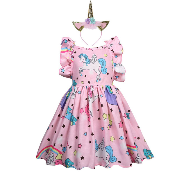 89b3d277 Short sleeve girl dress Baby Girls Unicorn Costume Kids Party Dresses  flamingo Clothes kids Princess unicornio vestido headband