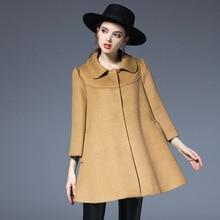 Women European Style Autumn Winter Fashion Wool Blends Coat Three-Quarter Sleeve Wool Woman Temperament Cloak Woolen Coats
