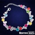 Цвет цветы браслеты браслеты подлинной кристалл из кристаллов сваровски браслет роскоши роковой для женщин лучшие друзья рождественский подарок