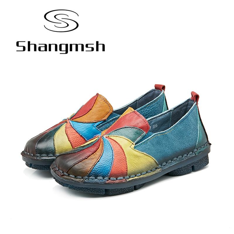 Shangmsh women's flat shoes Genuine leather Female slip on Pregnant shoes 2017 Fashion Soft Nurse Peas Loafer Flats Plus Size 43