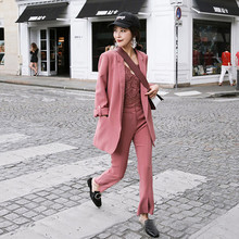 Set women's casual suit trousers two-piece 2019 spring and autumn new solid color wild loose temperament women's clothes