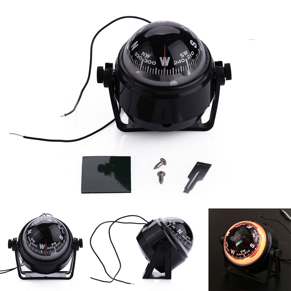 12V Sea Marine Electronic Digital Compass Boat Caravan Truck Black Car Compass With LED Light