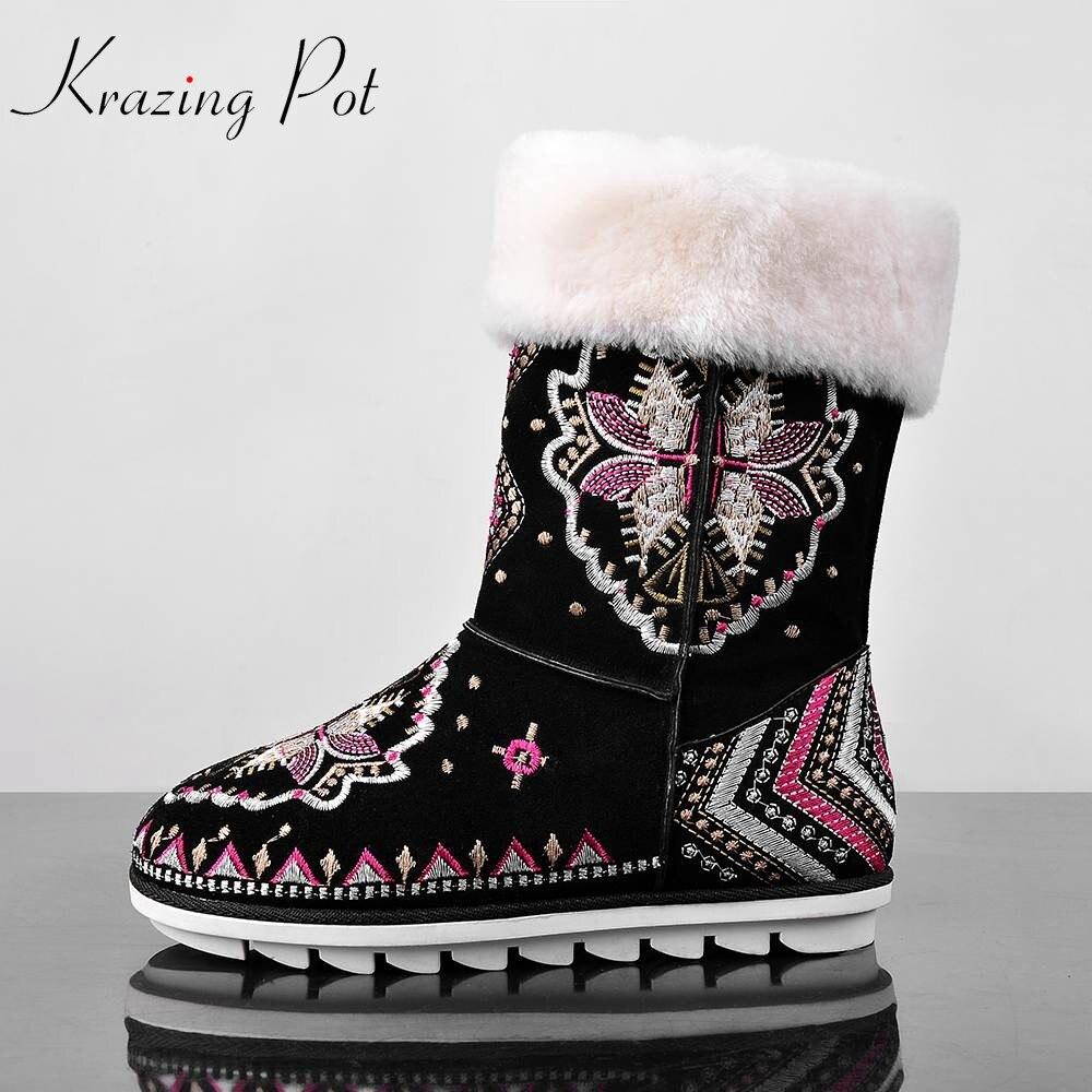 Модные популярные зимние ручная вышивка цветы женские зимние ботинки до середины икры из овечьей шерсти высокого качества на плоской подош...