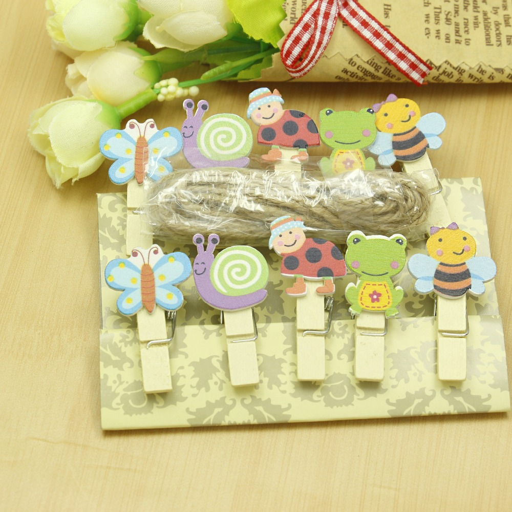 10 Pcs/lot Kawaii Insect Bee Dragonfly Wooden Clip Photo Paper Clothespin Craft Clips Party Decoration Clip With Hemp Rope