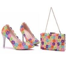 Cristal reine multicolore fleur brillant cristal femmes chaussures de mariage sacs assortis embrayages 9CM talons hauts femme pompes fête