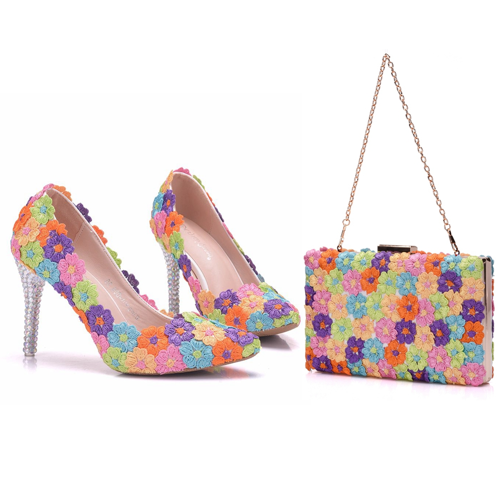 Crystal Queen Multicolor Flower Shining Crystal Womens Wedding Shoes Matching bags Clutches 9CM High Heels Female Pumps Party crystal queen multicolor flower shining crystal womens flat wedding shoes matching bags clutches flats female lady party shoes