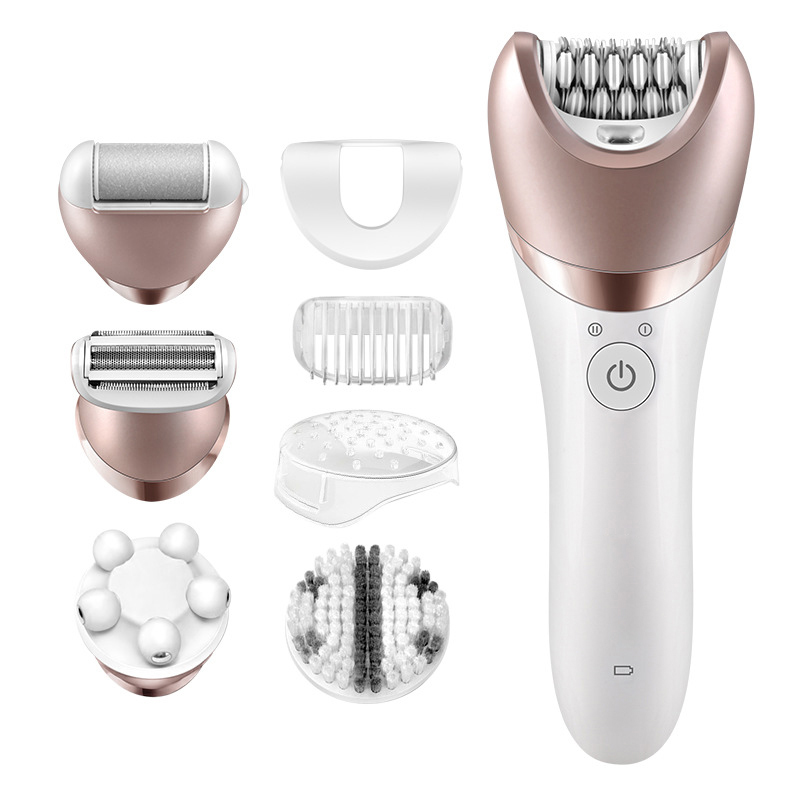 1pc 5 in 1 Electric Women Epilator Lady Shaver Razor Callus Remover Facial Cleansing Brush Female Bikini Trimmer Shaving Machine 5 in 1 facial body beauty instrument device tool kit epilator cleansing brush massager lady shaver hard dead skin callus remover