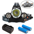 2016 USB Headlamp 8000Lm CREE XML T6+2R5 LED Headlight Lamp Light Torch Camping Fishing+2*6800mAh18650 battery+ charger