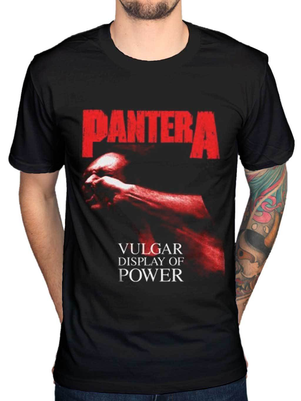 Design t shirt gildan - Hipster Gildan O Neck Short Design New Pantera Red Vulgar Display Of Power Graphic T