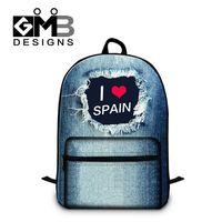 Dispalang fashion school backpacks for children I Love SPAIN letter print bookbag with laptop compartment blue denim backpack