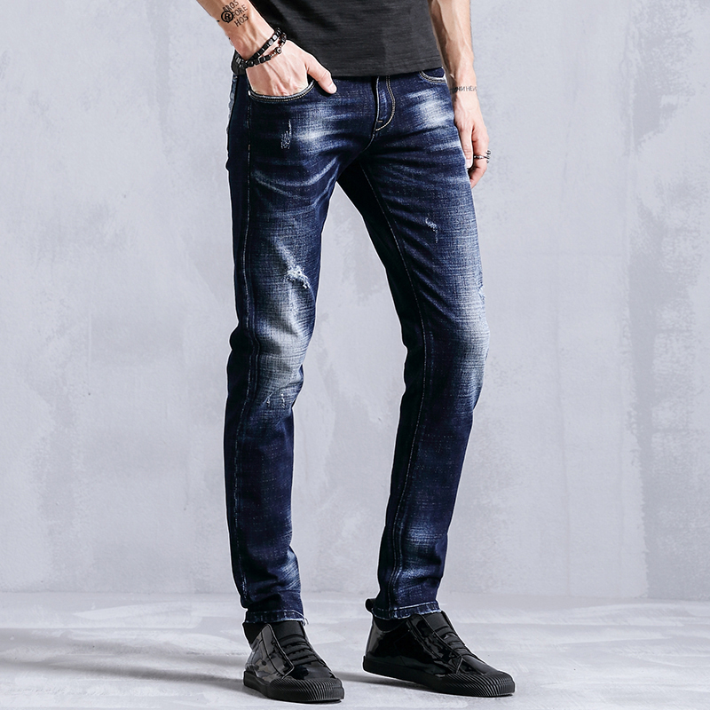 Brand 2018 Casual Jeans Men Clothes Fashion Straight Distressed Slim Fit Male Denim Trousers For Mens Clothing Blue 8001