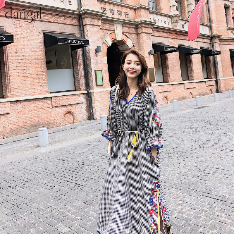 Dangal Women Dresses Bohemian Ethnic Plaid Vestidos Half Sleeve Lantern Sleeve Cotton and Linen Boho Embroidery Floral Dresses