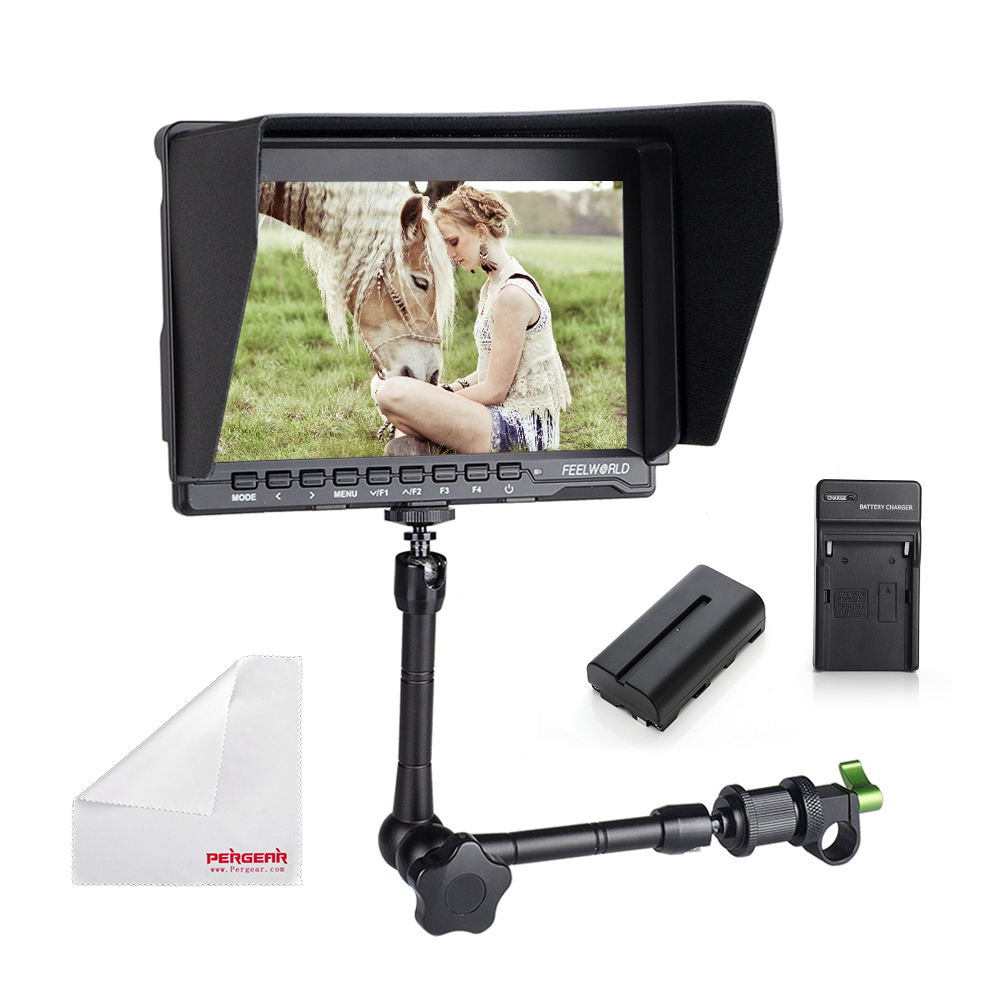 Feelworld FW759 7 DSLR HDMI HD IPS 1280x800 Field Monitor Contrast 800:1 HDMI Input + Magic Arm+ Battery Kit +15mm Rod Clamp
