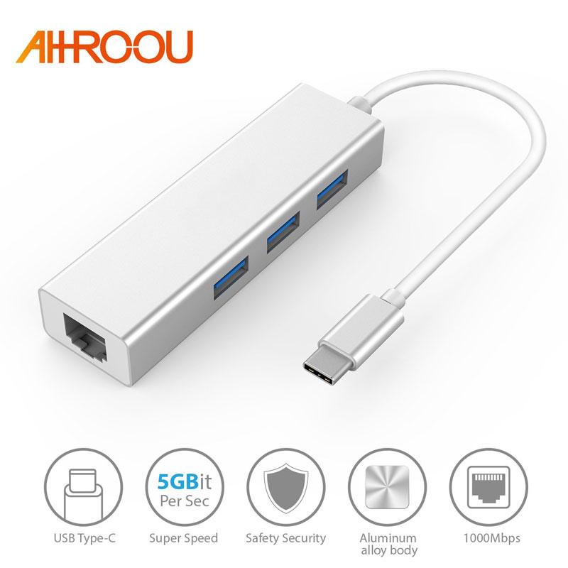 5Gbps High Speed USB C to Ethernet Adapter with Type C USB 3.0 HUB 3 Ports RJ45 Network Card Lan Adapter For Macbook USB-C Type
