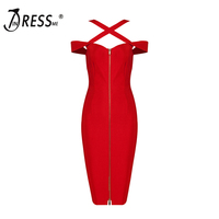 INDRESSME 2017 New Women S SexyCelebrity Red Off Shoulder Knee Length Bandage Dress Spaghetti Strap Zipper