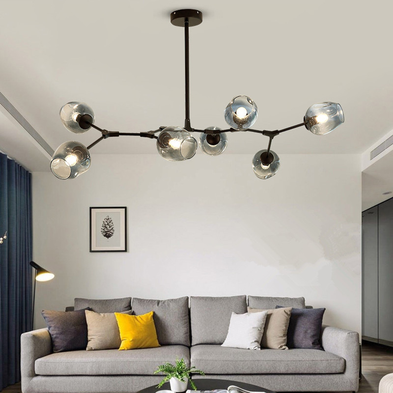 Kitchen Modern Pendant Light Gradual Grey Glass Lamp Bar
