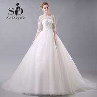 Wedding Dress 2016 SoDigne Lace Up Beaded Lace Applique Keyhole Backless Vestido De Noiva A Line