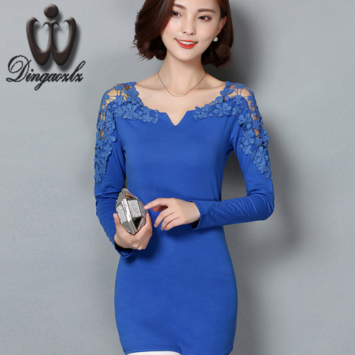 sexy female hollow out lace tops fashion long-sleeved bottoming casual blouse elegant lady stitching lace tops large size
