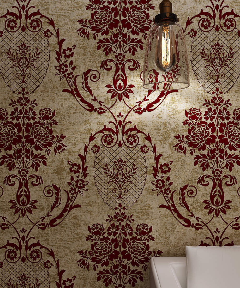 Bronze Golden Burgundy Vintage Classic Retro Damask Velvet Flocking Wallpaper