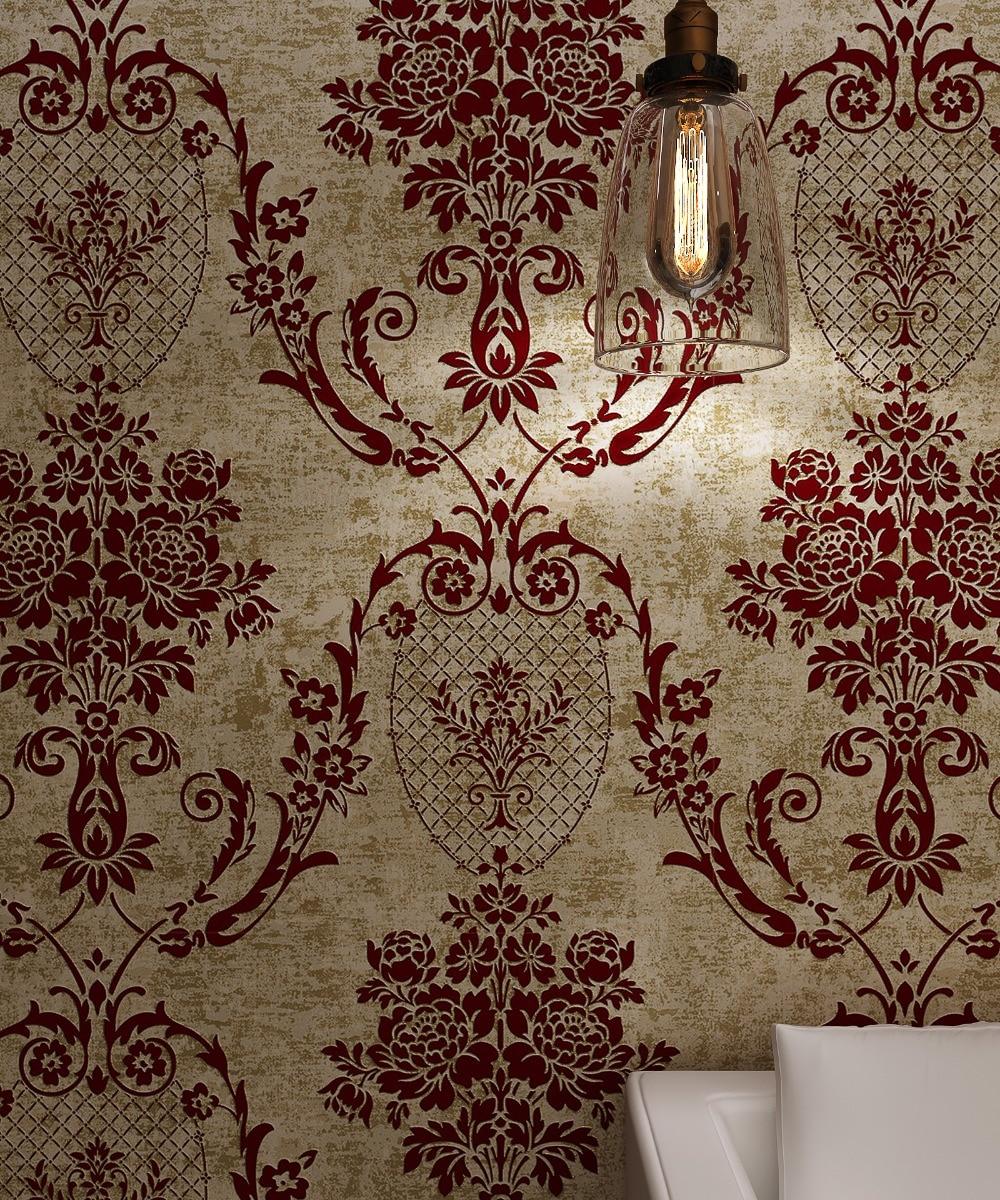 Popular burgundy wallpaper buy cheap burgundy wallpaper for Goldene wand tapete
