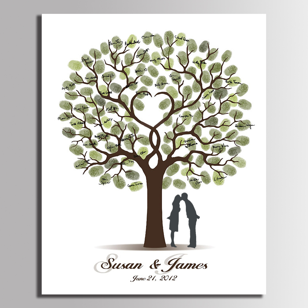 Fingerprint Wedding Tree Painting DIY Fingerprint Tree Wedding Guest Book Party Decorations...