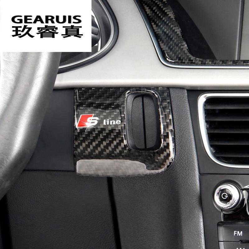 автомобиль углеродного волокна стиль замочную скважину декоративная рамка крышка отделка стикер с линии прокладки для Audi А4 Б8 А5 аксессуары ПРК-драйв прямо