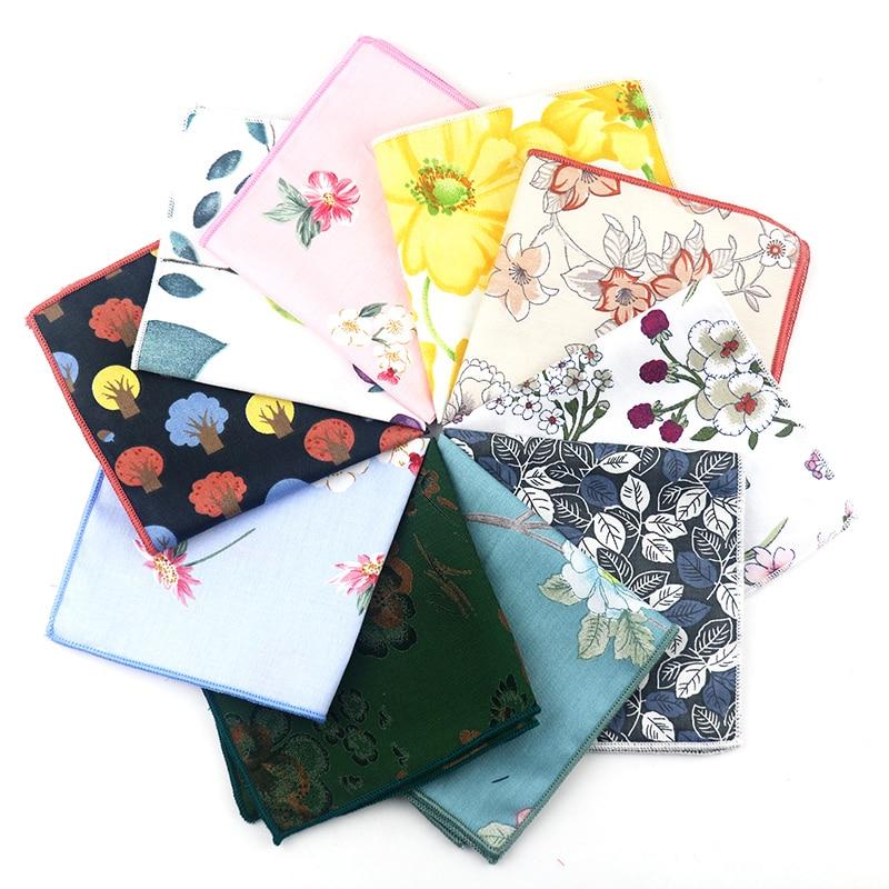 Mens Stylish Floral Flower Cotton Pocket Square Hanky Wedding Party Handkerchief
