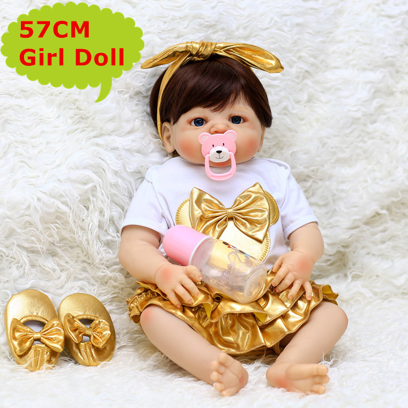 2018 New 57CM Full Body Silicone Reborn Baby Doll Girl Alive Real Touch Bebe Reborn Doll Boneca Toy Child Playmate Baby Bath Toy