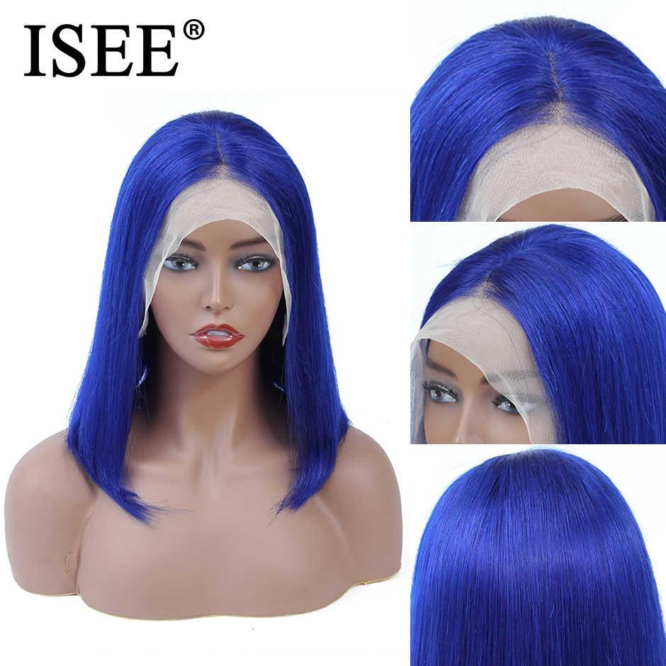 613 peluca recta de Bob rosa/azul 13X4 pelucas de pelo humano frontal de encaje para mujeres negras 150% peluca delantera de encaje Rubio Remy Malayo
