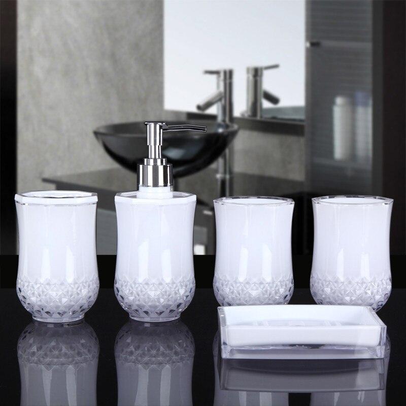 Acessórios do Banheiro Dispensador de Sabão de Vidro Escova de Dentes Prato de Sabão Presente de Casamento Conjunto de Produtos Conjunto Titular Gargarejo Copo Banheiro 5-pieces