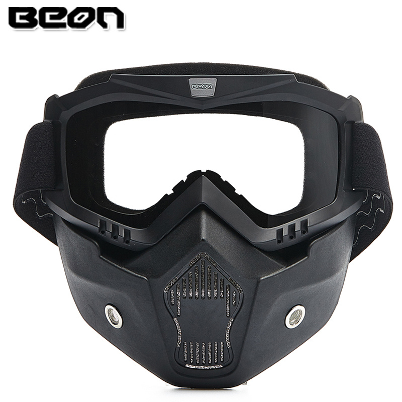 Beon Motorcycle Mask Dust Mask with Anti-fog Double Detachable Motocross Goggles Vintage Helmets Mouth Filter Motorcycle goggles