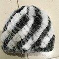 Русская Зима трикотажные меховая Шапка женская шляпа природный рекс кролика меховые шапки