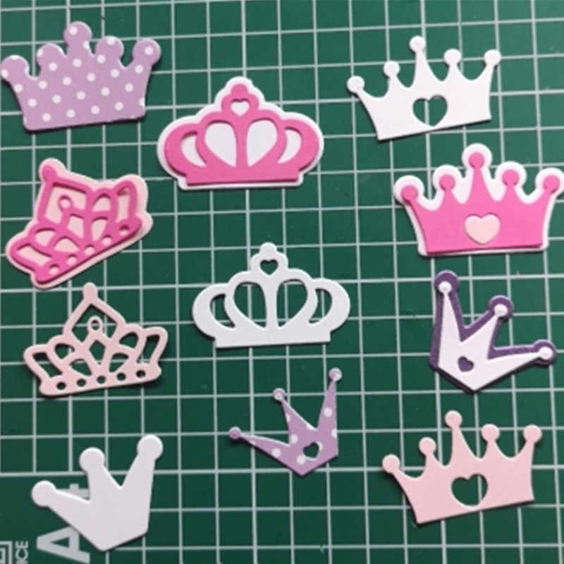 Gowing 4Pcs Crown Shaped Stitched Metal Cutting Dies Stencil Embossing Die Stencil for DIY Scrapbooking Album Card Craft Dies