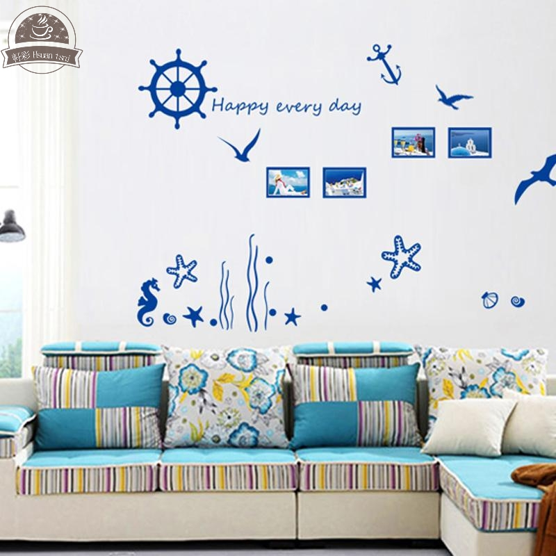 Ocean Home Decor ocean inspired home decor home and wedding registry bridescom bridescom Blue Ocean Photo Frame Diy Vinyl Wall Stickers Home Decor Art Decals Wallpaper Bedroom Sofa House Decoration Adesivo De Parede