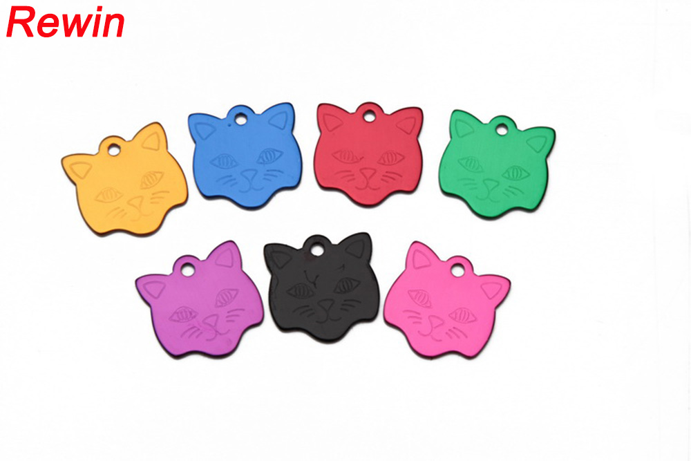 100 pcs/lot Pet Tag ID Custom Dog Cat Engraved Name Charm With Free Ring Tags CAt Coolar