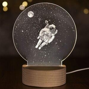 Настольная 3D лампа с объемной луной, ночник в виде единорога для сна, домашний декор