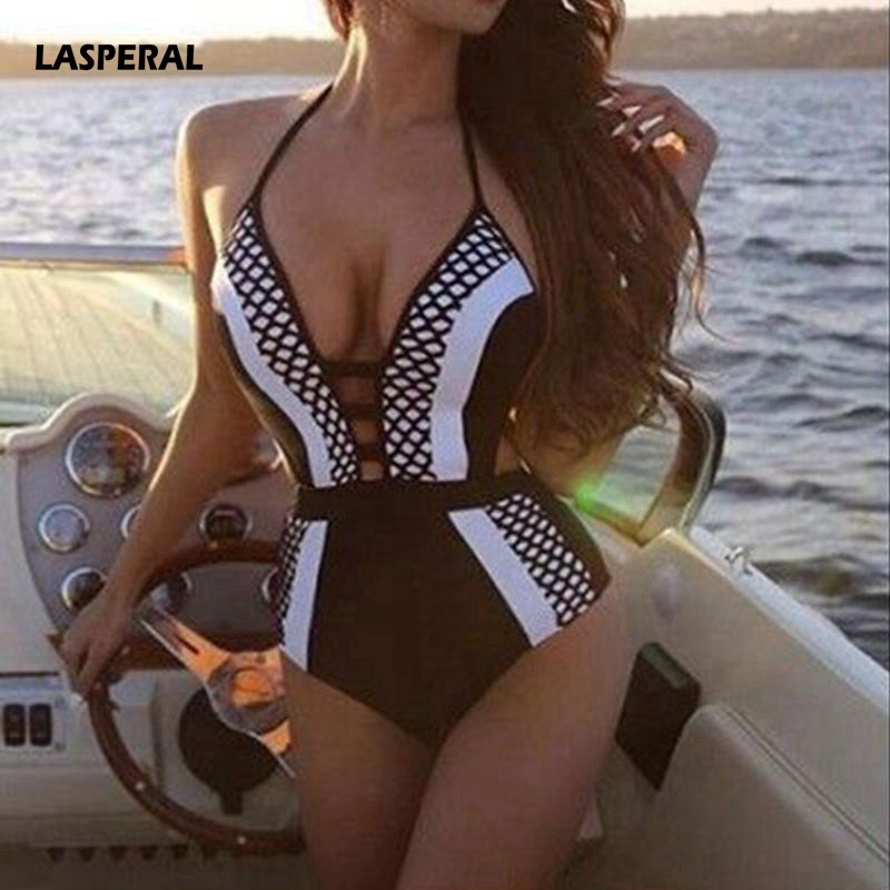 LASPERAL Summer Women One Piece Swimwear Sexy Backless Bandage Halter Push Up Deep V Neck Bathing Suit Bodysuit Beachwear Bikini women solid one piece swimsuit halter backless bandage bodysuit monokini deep v neck sexy high waist vintage beach wear