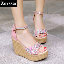 2017 Summer Fashion South Korean style Womens shoes wedges Peep Toe High heels rhinestone sandals platform pumps woman shoes